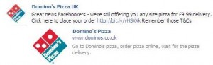 Domino's Facebook offers