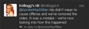 Kellogg's UK tweet