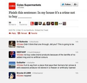 Coles finish this sentence tweet