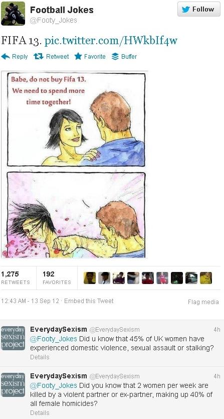 EverydaySexism takes on Footy Tweet on social media