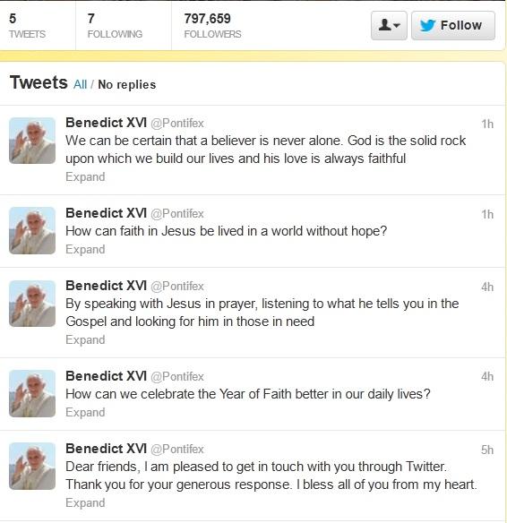 Pope tweets