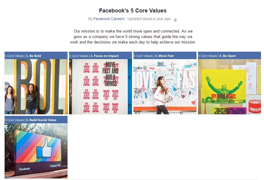 Facebook values