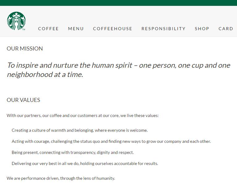 Starbucks values